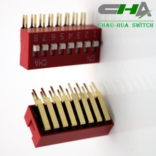 Hot sale right angle type 2.54mm picth dip switch with red color