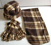 checked double side fleece winter set hat scarf glove suit