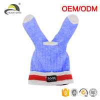 fur children hand fleece knit wool winter beanie hat ski cap with ear