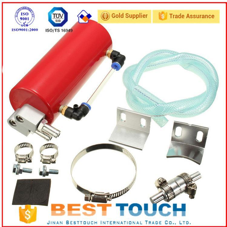 Car red round aluminum universal oil tank /can cheap price oil catch tank for d4d engine