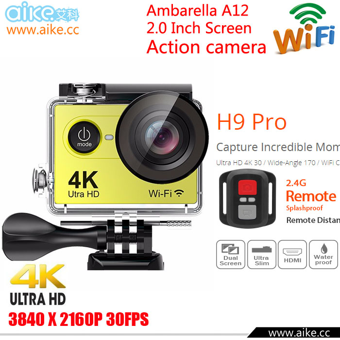 EKEN H9 Pro Action camera ultra 4K / 30fps Ambarella A12 3840*2160 remote WiFi pro Helmet Cam go waterproof Sport camera H9Pro