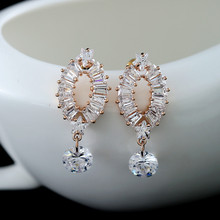 Latest design glittering women holiday gift loop shape diamond pendant earrings