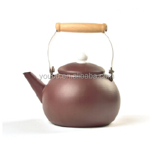 Kitchen cookware Ball shape enamel whistling water kettle colorful whistling tea kettle cheap price with full decal