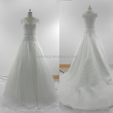 2015 Hot sale organza mesh white elegant happiness brides wedding dresses