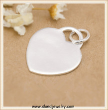 wholesale Decorative metal disc jewelry custom made 925 sterling silver heart stamping blank