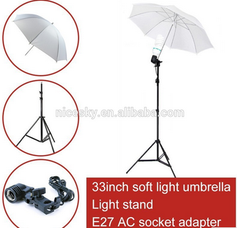 Hot sell photo studio photography set 2m light stand + E27 AC socket adapter+Flash Soft Translucent Umbrella