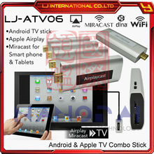 AIRPLAYCAST Quad-core Android hdmi wifi smart tv stick with airplay for iphone / ipad and HDTV miracast for smartphone / tablet