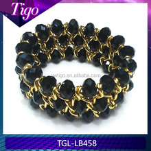 wholesale faceted glass beads stretch wristband