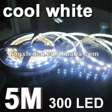 Pure white 5050SMD non-waterproof IP20 60led/m flexible strip with DC12V and yellow FPC for decoration