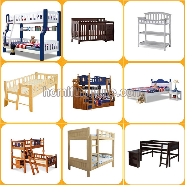New Design Wooden Children Double Bunk Beds Kids Bunk Beds with Bookcase