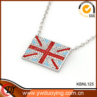 Euro 2016 Football Hot Wholesale Custom England Flag Rectangle Pendant Necklace