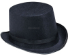 Flat black top fedora hat with wide brim HT12060