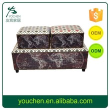 S/3 Home Decorative Wooden Storage Long Bench, Antique Wooden Storage Ottomans