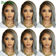 New Arrival short brazilian Grey Virgin Hair Full Lace Wigs sew in human hair full lace wig 1b grey ombre hair In Stock