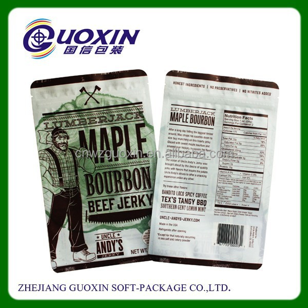 custom design Gravure printing standing plastic food packaging bag with ziplock