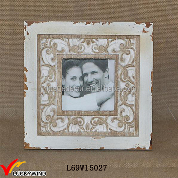 Stained Shabby Chic Rustic Wood Table Version Couples Photo Frame
