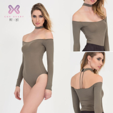 New Design neck around design Women Tight Bodysuit