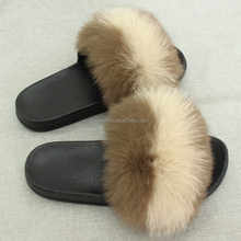Wholesale Fashion Slippers Women Shoes Women Fox Fur Slides