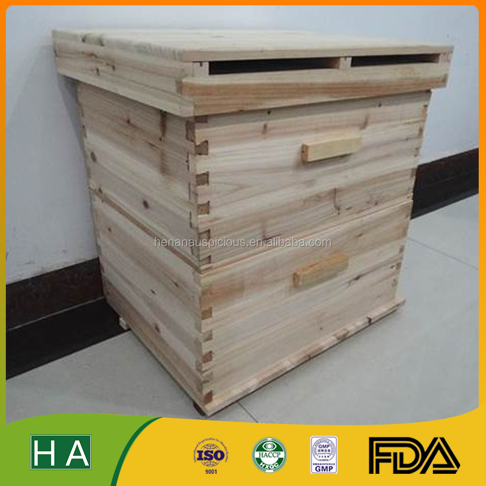 Two Levels Fir Wood Bee hive with Metal Roof Addiotional Option for Beekeeping