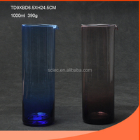 Hight-neck and smooth 1000ml dark blue and brown glass vase wholesale