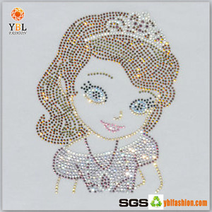 Latest Customized Made Hotfix Rhinestone Lady Transfer for T Shirt