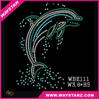 Wholesale Rhinestone Hot Fix Heat Transfers Custom Dolphin Motif Rhinestones Design