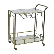 Durable Antique Bronze Glass Kitchen Cart with Wine Rack