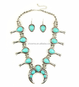 Latest new squash blossom necklace, Turquoise squash blossom earring necklace set jewelry, Squash jewelry