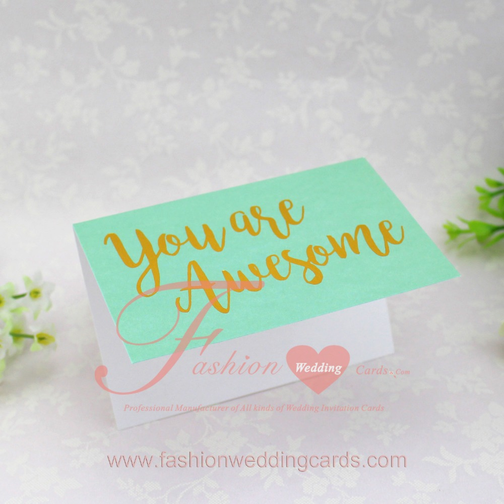 2017 Customized Gold Foil Handmade Wedding Birthday Greeting Cards