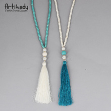 Artilady white and blue vintage indian jewelry long tassel bead necklace for women