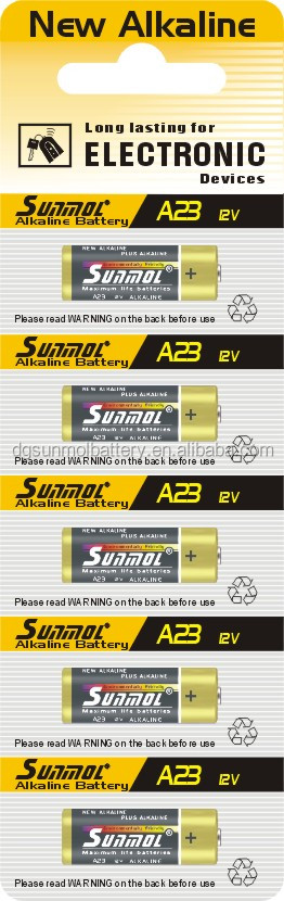 Super Alkaline battery 12v 23a for romote control car battery doorbell battery