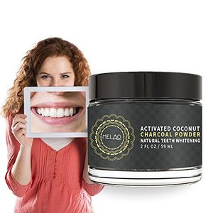 Activated Charcoal Teeth Whitening Powder, Tooth Whitener with Coconut Charcoal, and Bentonite Clay