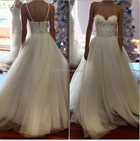 Removeble Spaghetti Straps Appliques Wedding Dress Custom Made Floor length Tulle Wedding Gown Sweetheart 2016