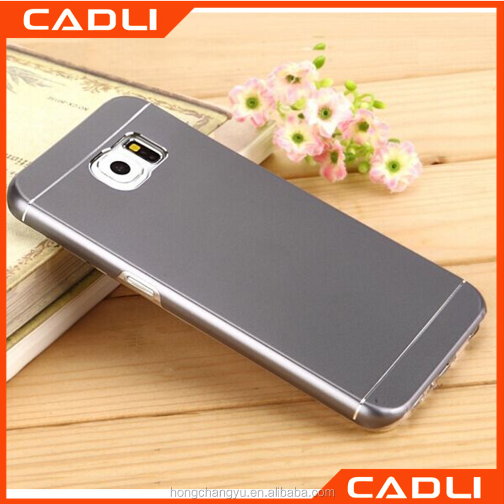 Multi Color Soft TPU Protective Bumper Frame Cases Metal Back Cover Phone Cases for Samsung S6
