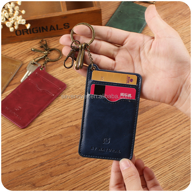 vogue contracted light pu leather id card holder with key chain