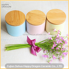 Big Color Glazed Ceramic Candle Canister With Wooden lid