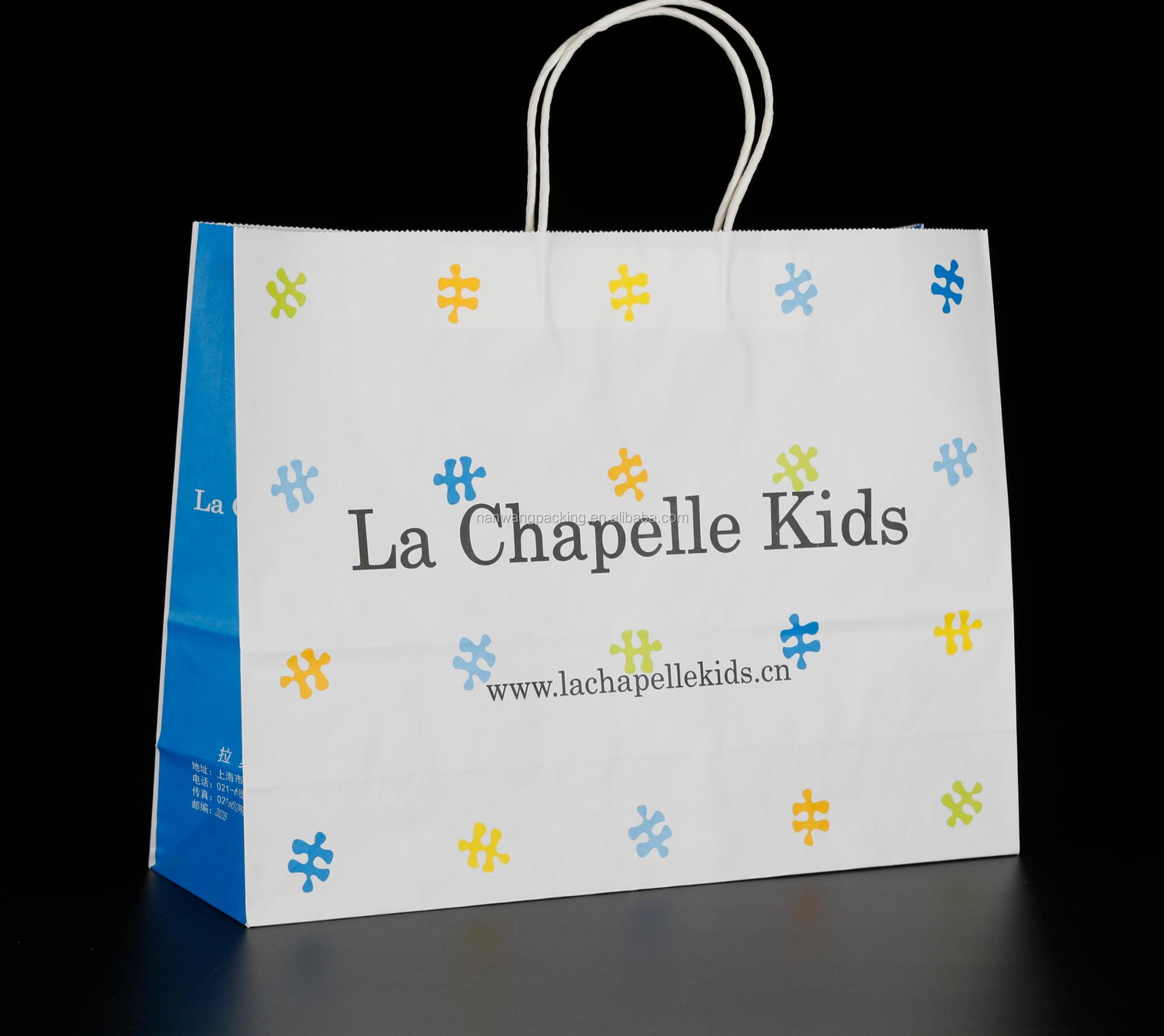 Quality White Kraft Paper Bag with logo printing