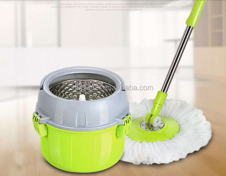 2 IN1 STAINLESS STEEL BUCKET MICROFIBER ROTATING SPIN CLEANING MOP