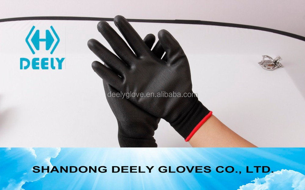 13G white thinner HPPE fiber knit blue PU palm glove cut resistant glove