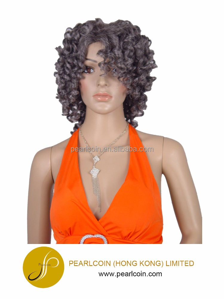 Curly Gray Hair Medium Length Futura Fiber Wig