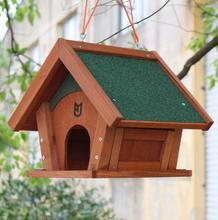 Custom cheap new wood rainproof beautiful durable bird feeder garden bird cage