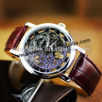 The Latest Design Mechanical Watch Charming Genuine Leather Watch Roman Digital Men Watch Black /Wine Color Available