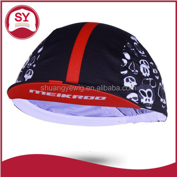 2017 polyester short brim unconstructed mens cycling cap with elastic strap