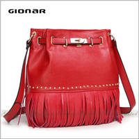 Fashion Stylish Leisure Luxury Gionar Brands Tassel Women Bags Genuine Leather Lady Handbag