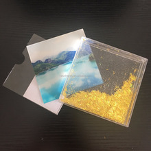 High Quality 4.25 Inch By 4.25 Inch Square Shape Clear Acrylic Floating Aqua Fun Box Liquid gitter Photo Frame