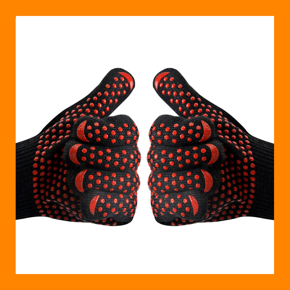 Factory Price EN407 Certificate 932F Heat Resistant BBQ Cooking Gloves Aramid Cooking Gloves Non Slip Silicone Grill Gloves