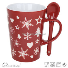 Newest christmas gift snowflake design mugs with spoon ceramic coffee mugs christmas mug
