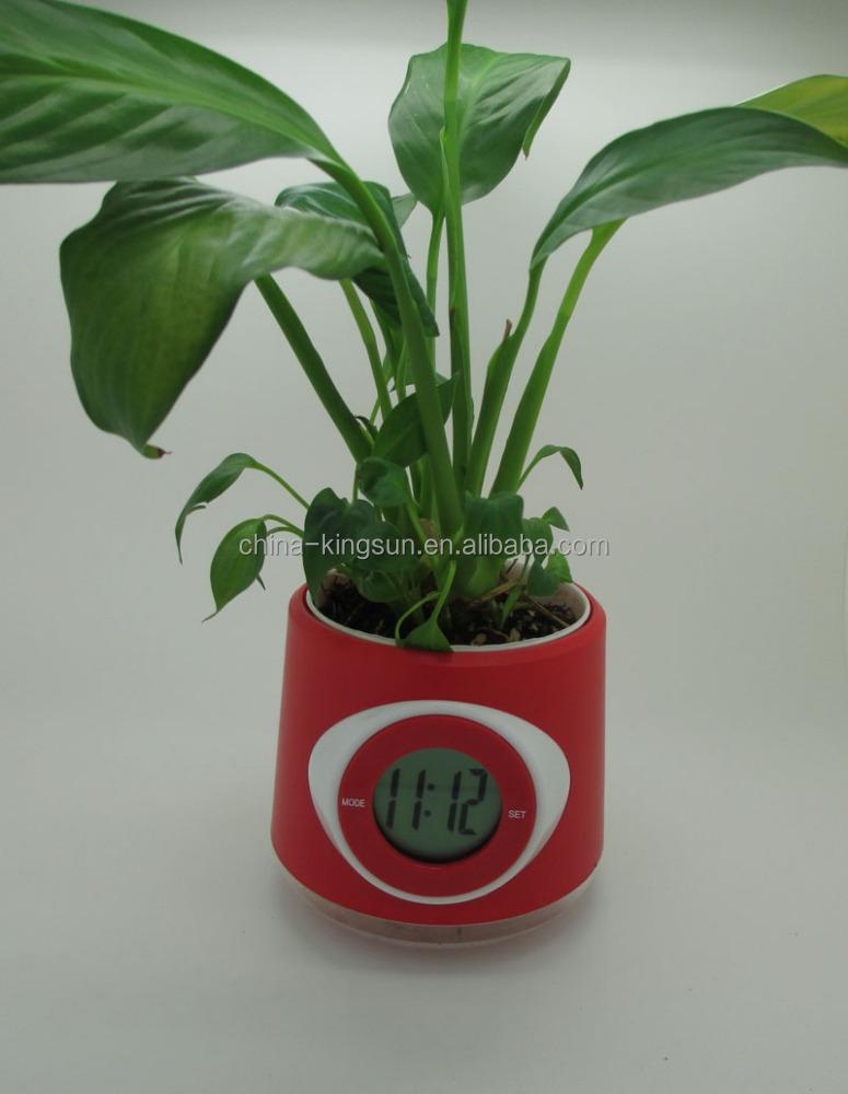 Promozione di plastica vaso da fiori con orologio digitale - Regali da ufficio ...