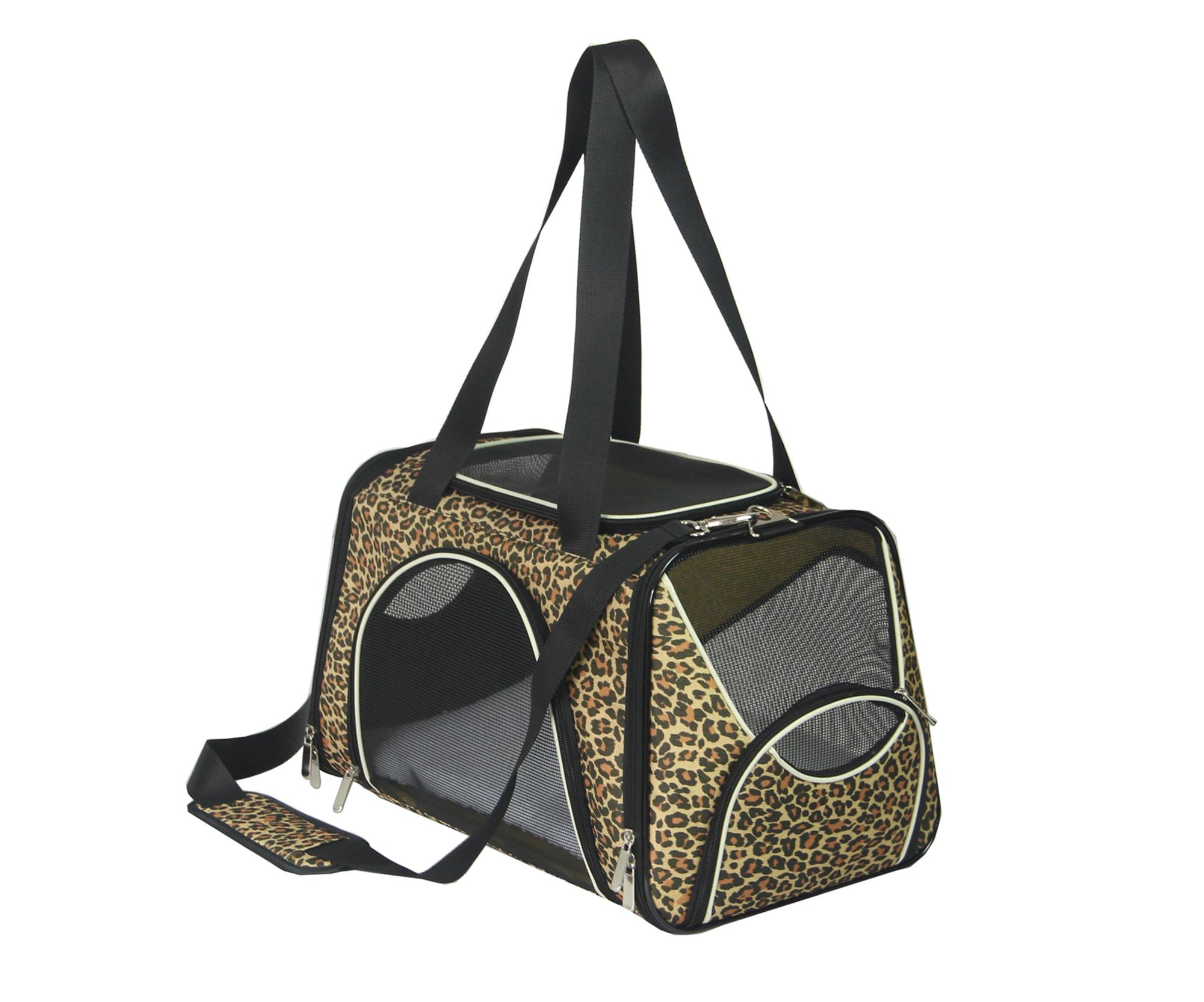 lightweight fabric Leopard print sofe side pet carrier bag for small animals dog cat