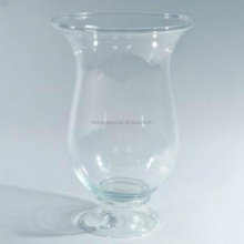 Cylinder flare top stem vase,cheap wholeasale long stem colored clear glass vase tall glass stemmed vase